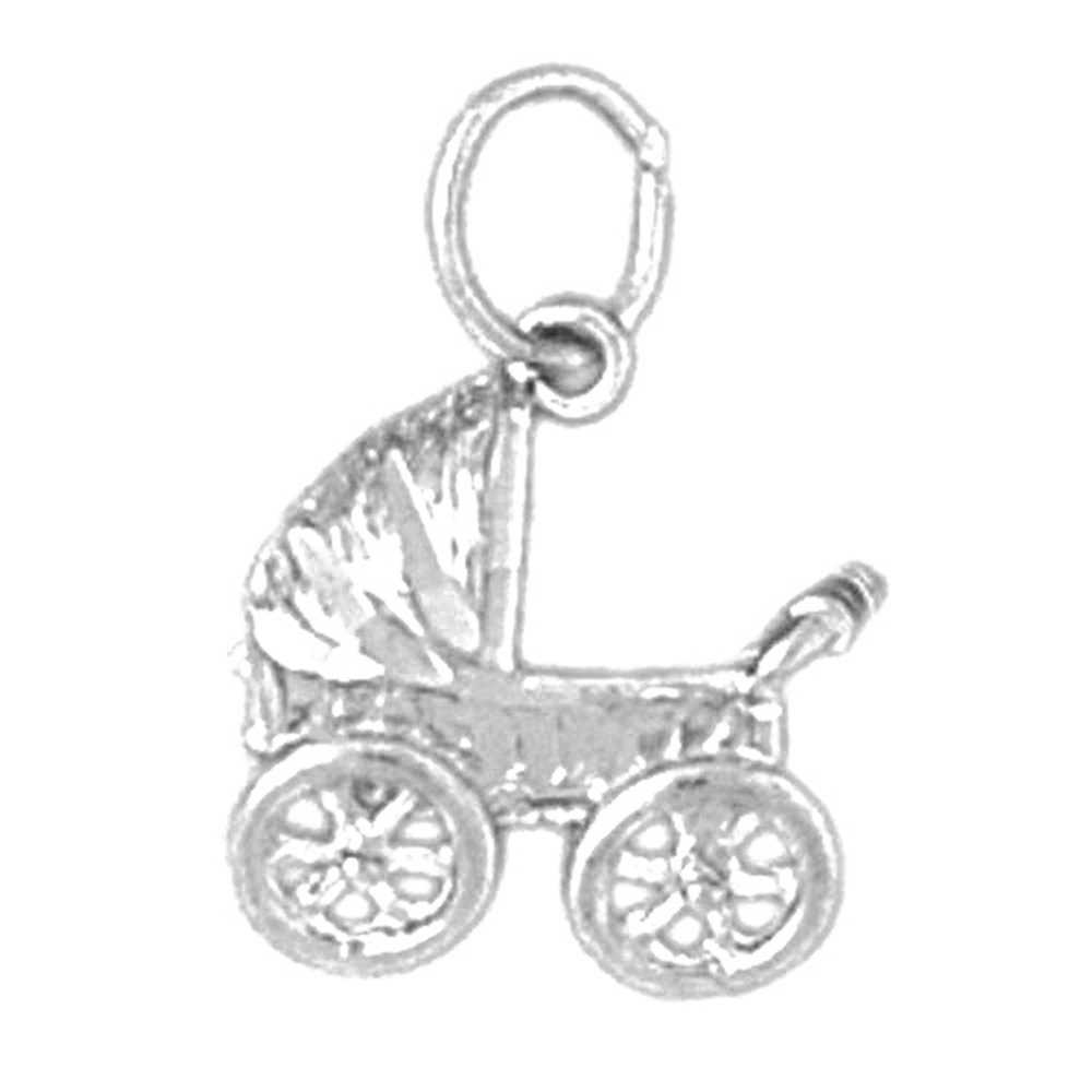 Jewels Obsession Baby Stoller Necklace Rhodium-plated 925 Silver Baby Stroller Pendant with 18 Necklace