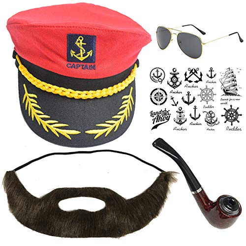 Yacht Captain & Sailor Costume Set - Hat,Corn Cob Pipe,Aviator Sunglasses,Vintage Anchor Temporary Tattoo (OneSize, C2-5)]()