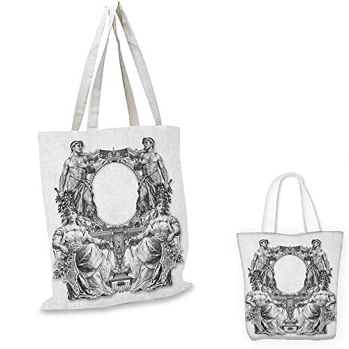 (Victorian shopping bag storage pouch Old Victorian Frame Two Man and Two Woman Ancient Baroque Crown Princess Art small tote shopping bag Black White. 13