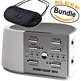 Adaptive Sound Technologies - ASM1014 Sound+Sleep MINI, Sleep Therapy System, White/Silver & Sleepy Eyez Lightweight Black Sleeping Mask (Sleep Bundle)