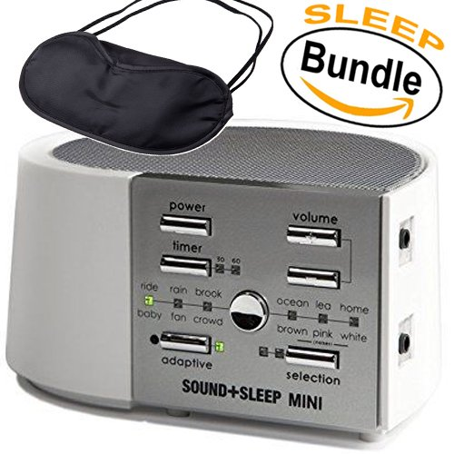 Adaptive Sound Technologies - ASM1014 Sound+Sleep MINI, Sleep Therapy System, White/Silver & Sleepy Eyez Lightweight Black Sleeping Mask (Sleep Bundle) by Sleep Bundle