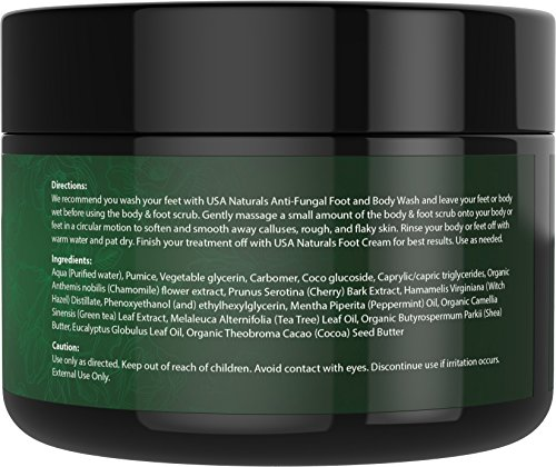 Tea Tree Oil Foot and Body Scrub - Antifungal Treatment - Exfoliating Scrub with a Unique Blend of Essential Oils - Smooths Calluses - Helps With Athlete's Foot, Acne, Jock Itch & Dead, Dry Skin by USA Naturals (Image #3)
