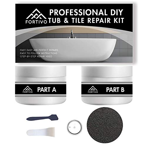Tub Repair Kit White for Acrylic, Porcelain, Enamel & Fiberglass Tub Repair Kit for Sink, Shower & Countertop - Bathtub Refinishing Kit for Cracked Bathtub Scratches - Porcelain Repair Kit for Ceramic
