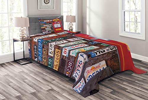 Lunarable Americana Bedspread, Various Old American License Plates Behind Antique Gas Pump in Rural Utah, Decorative Quilted 2 Piece Coverlet Set with Pillow Sham, Twin Size, ()