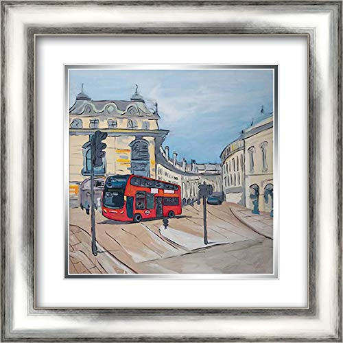 Piccadilly Circus of London 20x20 Silver Contemporary Wood Framed and Double Matted Art Print by Atelier B Art Studio