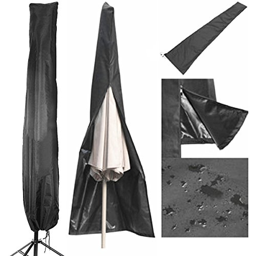 Patio Umbrella Covers Parasol Outdoor Offset Covers Waterproof Fits 7ft to 11ft Umbrellas for Market Umbrellas Large with Storage Zipper Bag, Black by LOAMO
