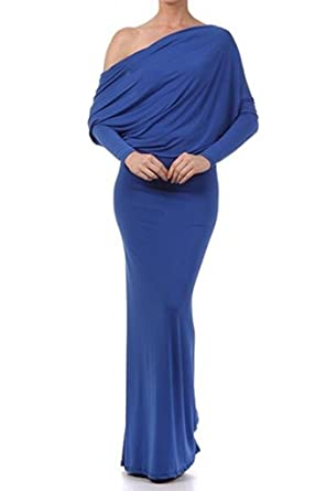 557797e4c90 SurelyMine Womens MULTIWAY Reversible PLUNGING MAXI DRESS Off Shoulder  Small Blue