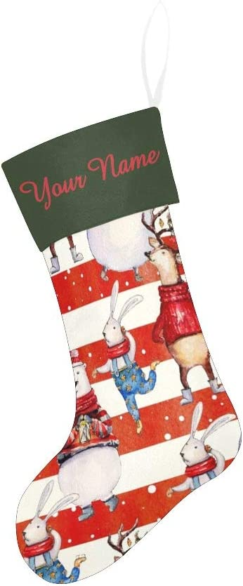 CUXWEOT Personalized Christmas Stocking with Name Custom Colorful Striped Plaid for Xmas Party Decoration Gift 17.52 x 7.87 Inch