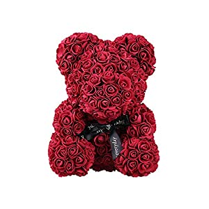 "Gsha Rose Flower Teddy Bear Forever Artificial Rose Valentines Wedding Anniversary Birthday Gifts 10"" 113"
