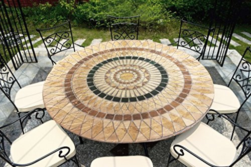 (CT DISCOUNT STORE CTD Store Deluxe Fitted Elasticized Table cover Fit up to44-48 Inches Diameter (Tuscan Mosaic))