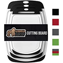 The Original GORILLA GRIP (R) Set of 3 Reversible Cutting Boards, BPA Free, Professional, Dishwasher Safe, Extra Large Size (Set of 3 Boards: Black)