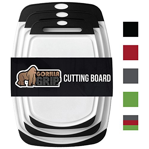 The Original GORILLA GRIP (R) Set of 3 Reversible Cutting Boards, BPA Free, Professional, Dishwasher Safe, Extra Large Size (Set of 3 Boards: (Non Slip Chopping Board)
