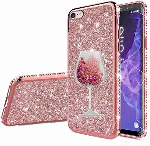 Nadoli Glitzer Hülle für iPhone 6/6S,Kristall Diamant Strass Bumper mit 3D Fließend Flüssig Treibsand Weinglas Silikon Handyhülle Frauen für iPhone 6/6S