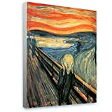 Alonline Art - The Scream Edvard Munch Framed Stretched Canvas (100% Cotton) Gallery Wrapped - Ready to Hang | 32''x43'' - 81x108cm | for Home Decor for Living Room Framed Wall Art Framed Art Giclee