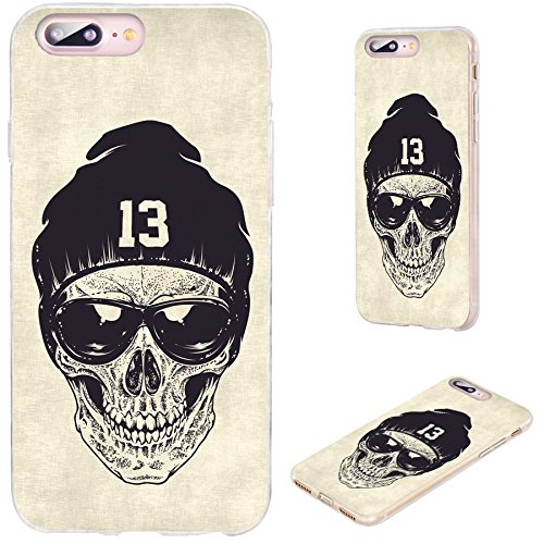 (iPhone 8 Plus Case,iPhone 7 Plus Case,VoMotec [Cute Series] Anti-Scratch Ultra Thin Flexible Soft TPU Full Protective Cover Case for iPhone 7 8 Plus 5.5,dotwork Skull Modern Street Style Sunglasses)