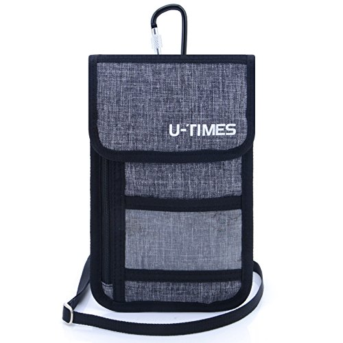 UTIMES Travel Passport Neck Bag RFID Blocking Cell Phone Wallet Pouch With Additional Carabiner-Ultra Slim & Light Weight(Gray) by UTIMES
