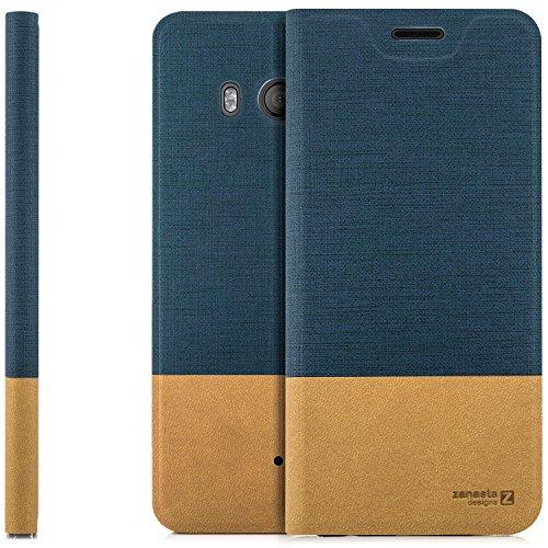 Funda HTC U11 Case Cubierta Carcasa Flip Cover Tapa Delantera con Billetera para Tarjetas, Cierre Abatible - Protectora de Alta Calidad | Azul