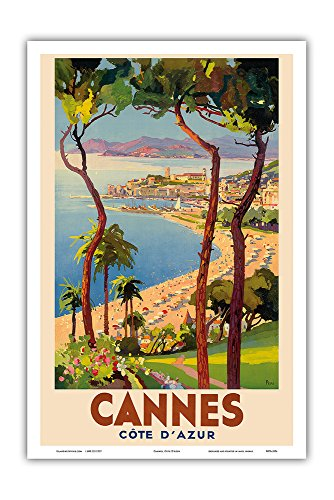Cannes - Côte d'Azur, France - French Riviera - Vintage World Travel Poster by Lucien Peri c.1938 - Master Art Print - 12in x 18in