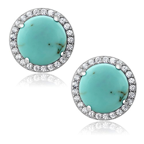 Gem Stone King Sterling Silver 10MM Round Cabouchon Simulated Turquoise Stunning Women's ()