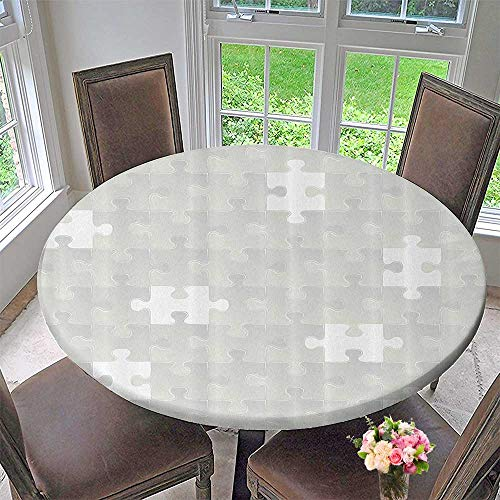 Mikihome Circular Table Cover Abstract Puzzle Patterns inLight Background Shabby Mosaic Ornament Idea Kids 47.5