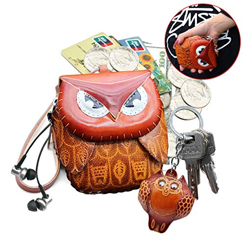 Coin Purse Keychain HandcraftedChange Cloure Handware on Chain with Key Ring for -
