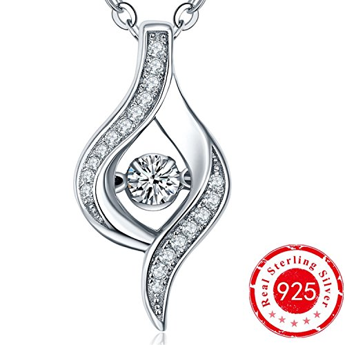 YL Women's The Eye of Lover Pendant Necklace with Sterling Silver Dancing Diamond Cubic (Dancing Lady Pendant)