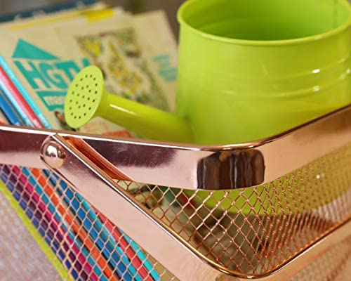 Toys Magazines Linens Cleaning Supplies and More Store Towels Clothes 2 Foldable Handles Mesh Copper Color Books Nifty Solutions Decorative Square Basket and Storage Bin