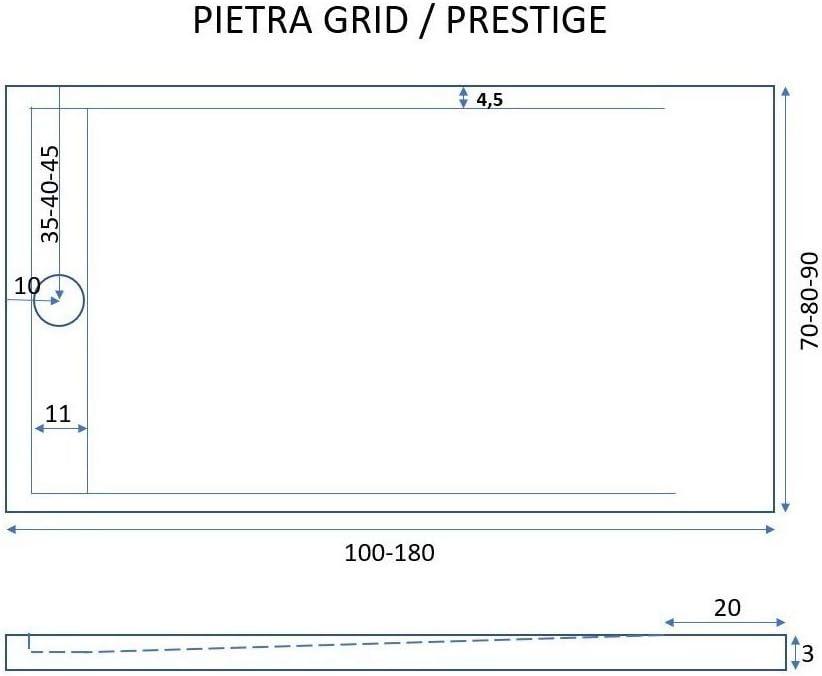 Olimpo Docce Receveur de Douche Pierre Grid Ardoise Grille lat/érale Blanc min/éral Marbre 3 cm 90x180