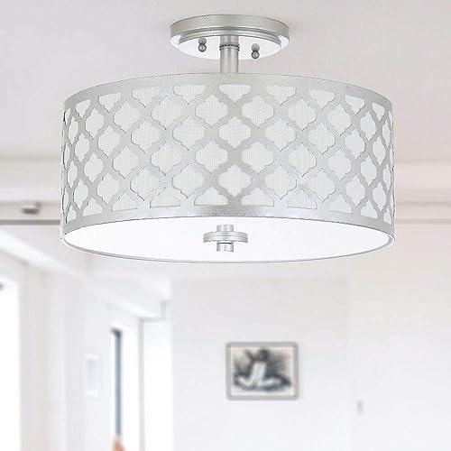 Safavieh Collection Kora Quatrefoil 3 Flush Mount Light, 15 , Silver