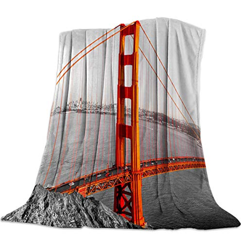 Arts Language Flannel Fleece Throw Blanket for Couch Bed San Francisco Bridge in The Foggy Cloudy Day Soft Cozy Lightweight Bed Blanket for Kids/Girls/Boys/Adults 59