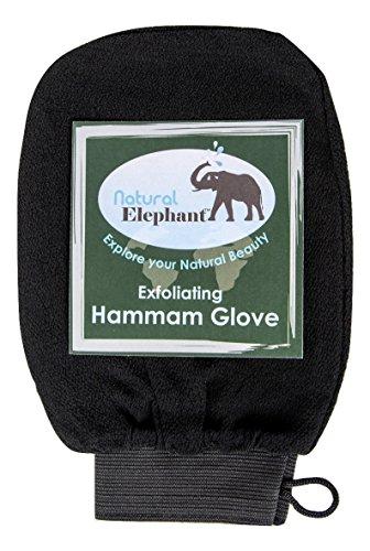 Natural Elephant Exfoliating Hammam Glove, Face & Body Exfoliator Mitt, Pure Black