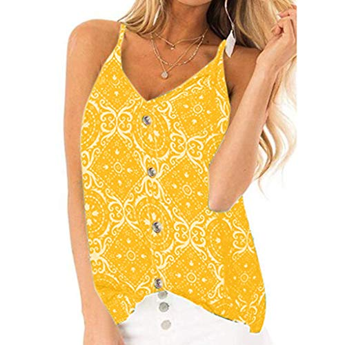 Sunhusing Ladies Sling V-Neck Sleeve Camisole Bohemian Vintage Print Tank Top T-Shirt