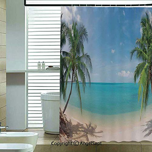 - Fashion Shower Curtain,Panoramic-Tropical-Beach-Exotic-Sand-Vacations-Decorative,70.8x72 inch,Bathroom Decor