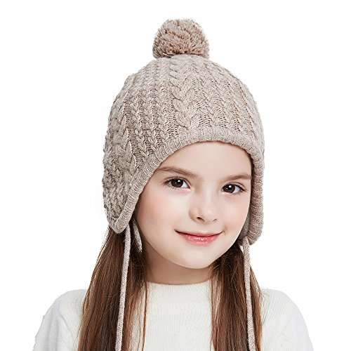 SOMALER Toddler Ear Flap Beanie Unisex Children Winter Knitting Pom Pom Hat Girls Boys Hat
