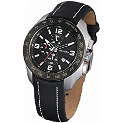 Timeforce TF3272M01 42mm Stainless Steel Case Black Leather Mineral Men's Watch