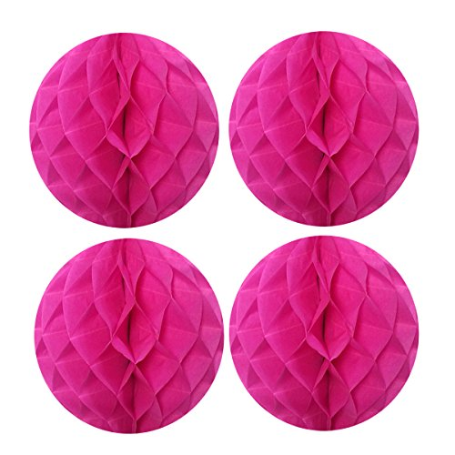 Wrapables A69076c Tissue Honeycomb Ball Party Decorations for Weddings, Birthday Parties, Baby Showers and Nursery Decor (Set of 4), 8, Hot Pink