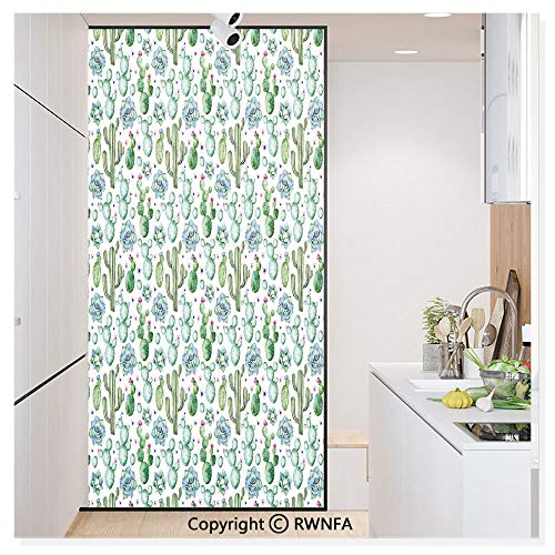 Window Film No Glue Glass Sticker Hand Painted Exotic Plant Collection Saguaro Prickly Pear Succulents Spines Static Cling Privacy Decor for Kitchen Bathroom 17.7x59.8inches,Multicolor