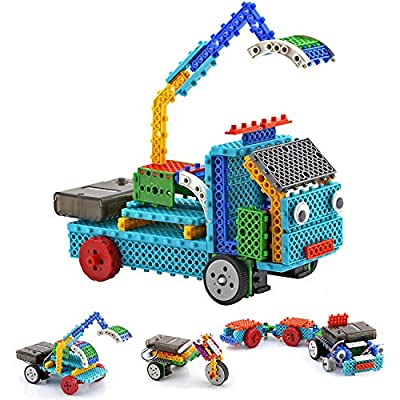 Boy Toys STEM Robot Kit Building Toys Remote Control Building Kits for Teen/Girl/Boy Gifts Building Blocks Construction Set Build Your Own RC Machines 123 Pieces