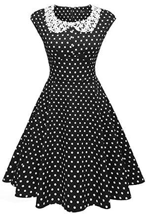 ACEVOG Women's Classy Vintage Audrey Hepburn Style 1940's Rockabilly Evening Dress (S, Black1)