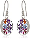 flower pressed earrings - Sterling Silver Pressed Flower Small Oval Drop Earrings