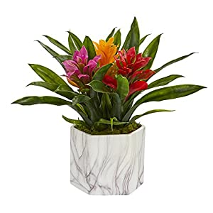 Nearly Natural 8139-AS Bromeliad Artificial Marble Finished Vase Silk Plants, Assorted 98