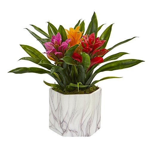 Nearly Natural 8139-AS Bromeliad Artificial Marble Finished Vase Silk Plants, Assorted (Plant Silk Bromeliad)