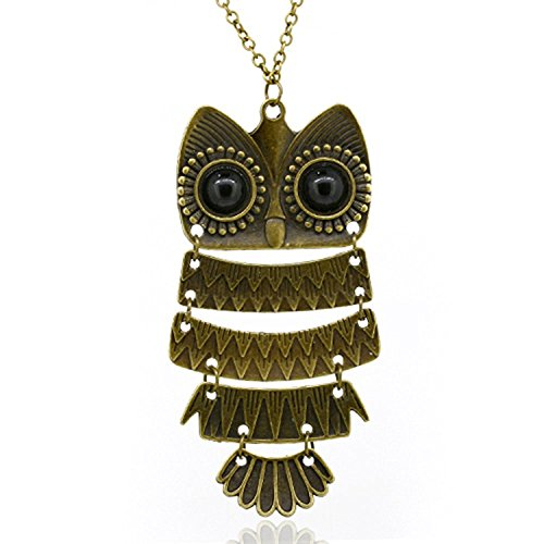 Necklace Vintage Owl (Women's Vintage Bronze Owl Pendant Long Chain Necklace)