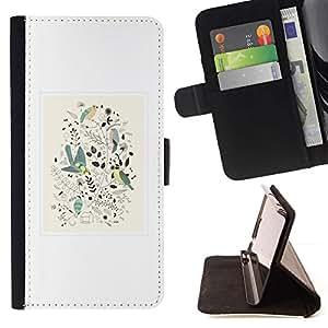 For Sony Xperia M5 E5603 E5606 E5653 Case , Diseño floral de primavera blanca minimalistas Birds- la tarjeta de Crédito Slots PU Funda de cuero Monedero caso cubierta de piel