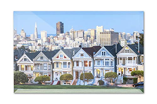 - San Francisco, California - Painted Ladies - Photography A-92312 (6x4 Acrylic Photo Block Gallery Quality)