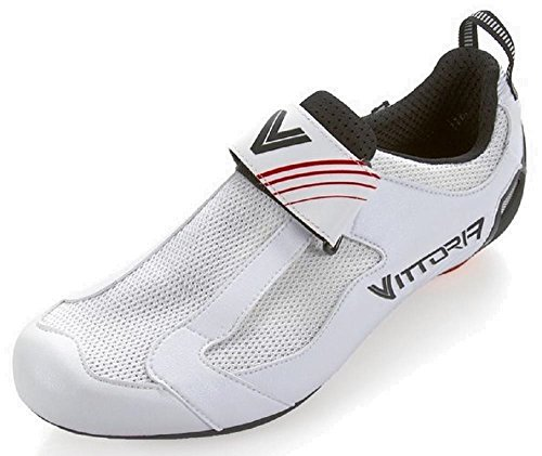 Vittoria THL Carbon Nylon Sole Triathlon Cycling Shoes (White) (42 M EU/8.5 D(M) US) For Sale