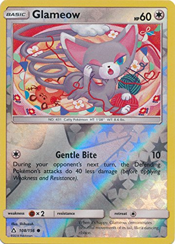 108 Common Pokemon Card - Glameow - 108/156 - Common - Reverse Holo - Sun & Moon: Ultra Prism