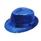 Unisex Sequined Hat Classic Dance Stage Cap Flashing Solid Party Hat Short Brim Panama Jazz Bowler Hat (Blue)
