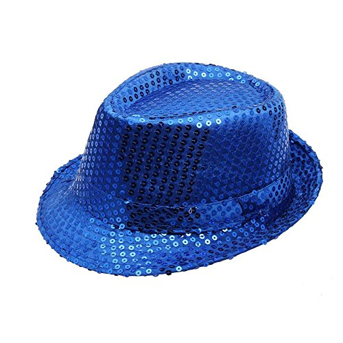 MILIMIEYIK Sequined Fedora Hat (Black), Sequin Dance Cap Solid Jazz Party Glitter Costum Flashing Light Up Hats for Women