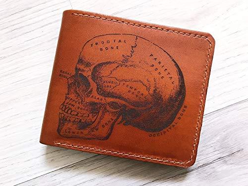 Unik4art - Human Skull Anatomic Skeleton leather handmade men bifold wallet birthday boyfriend father husband - Men Leather For Wallets Skull